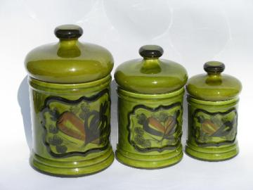Vintage hand-painted rustic pottery kitchen canisters, retro avocado green