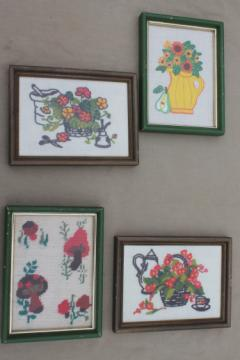 Vintage hand-stitched yarn embroidery pictures, funky flowers & mushrooms in mini frames