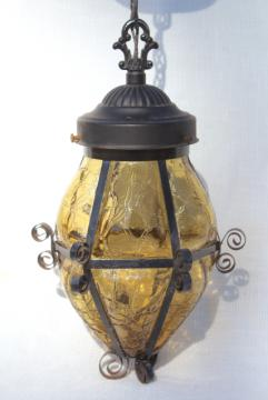 vintage hanging lamp w/ amber glass shade, wrought iron lantern pendant light fixture