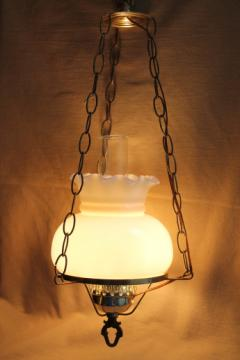 Vintage hanging light w/ hurricane chimney & milk glass shade, swag lamp chain & cord