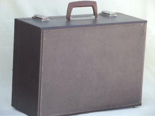 Vintage hard sided briefcase, salesman's sample case travel box suitcase w/ key