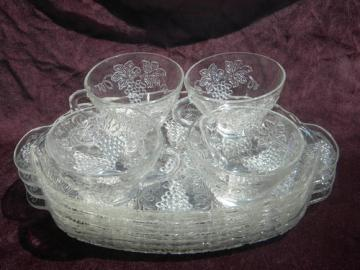 Vintage harvest grapes glass snack sets Anchor Hocking Serva-Snack #1
