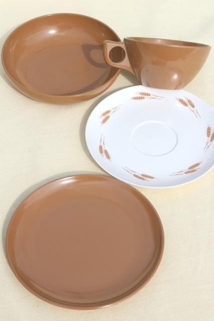 vintage harvest wheat brown melmac dishes - bowls, sandwich plates, cups & saucers