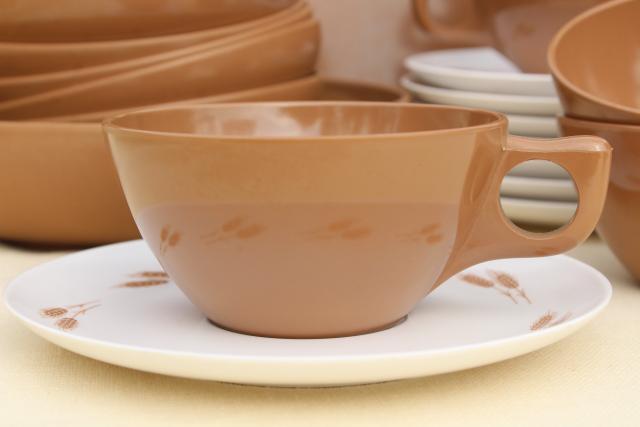 Vintage Harvest Wheat Brown Melmac Dishes Bowls