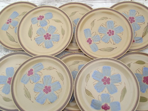 Vintage Hearthside Japan rose of sharon pattern stoneware dinner plates & vintage china dishes and dinnerware