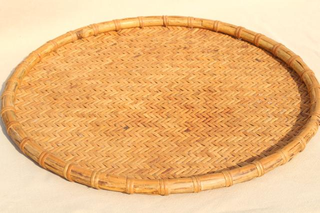 vintage herb drying baskets, round flat woven bamboo trays in graduated sizes
