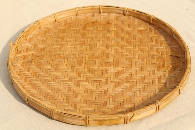 Vintage Herb Drying Baskets Round Flat Woven Bamboo Trays