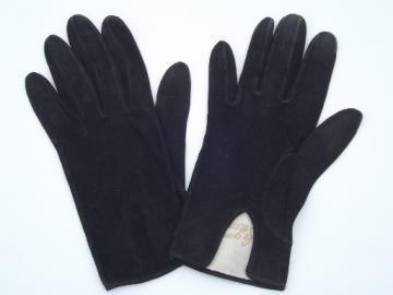 Vintage Hermes gloves, Paris made black suede leather ladies  sz 6 1/2