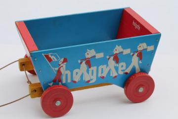 Vintage Holgate wooden wagon, blue & red painted wood pull toy tip cart