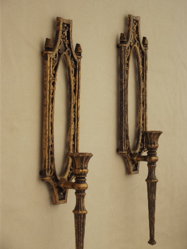 vintage homco gold rococo plastic wall art candle sconces u0026 wall vase