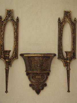 Vintage Homco gold rococo plastic wall art, candle sconces & wall vase