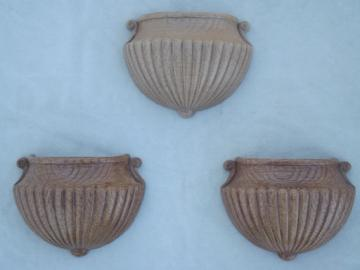 Vintage Homco wall art flower pot planters, shabby french style