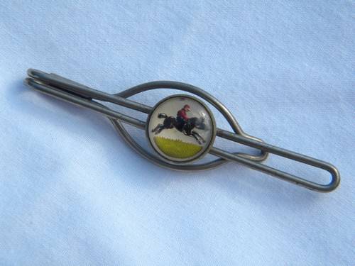 Vintage horse & jockey racing tie bar/money clip reverse ...