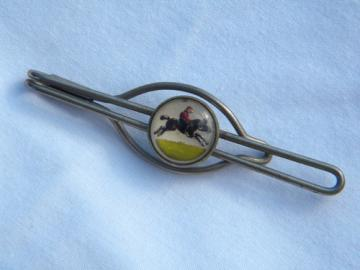 Vintage horse & jockey racing tie bar/money clip reverse painted intaglio