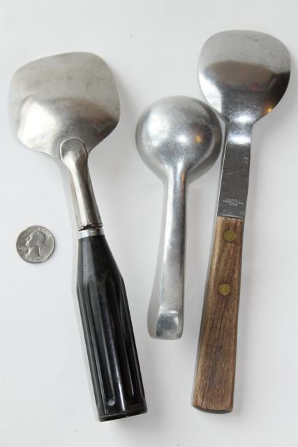 vintage ice cream scoop collection, lot heavy duty metal scoops for hard frozen ice cream