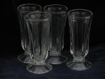 Vintage ice cream soda, float or parfait glasses, heavy ribbed glass