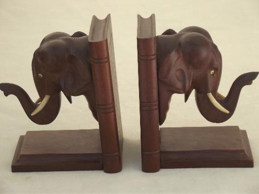 Vintage Indian elephants bookends, hand carved teak wood?