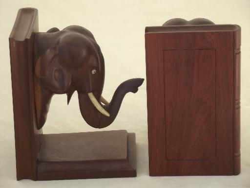 Vintage Indian Elephants Bookends Hand Carved Teak Wood