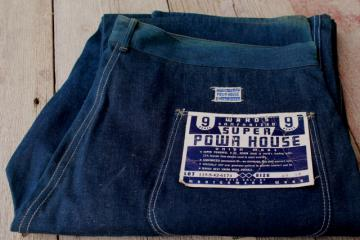 vintage indigo blue denim jeans, Wards Super Powr House work wear, stiff as board new old stock