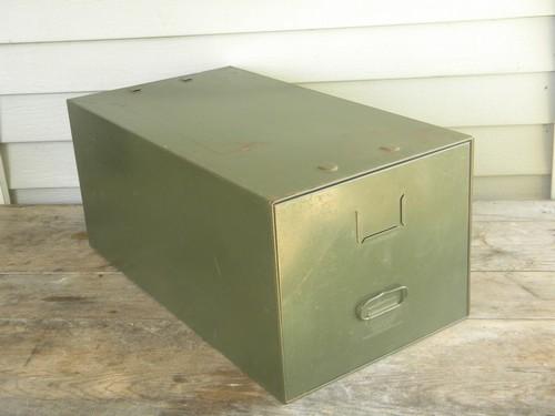 Gentil Vintage Industrial Office File Cabinet Box, Olive Drab Steel Single Drawer