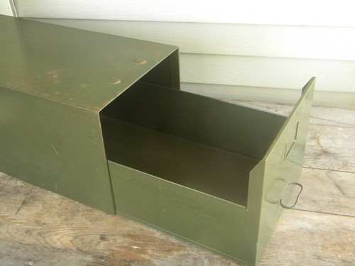 Vintage Industrial Office File Cabinet Box, Olive Drab Steel Single Drawer