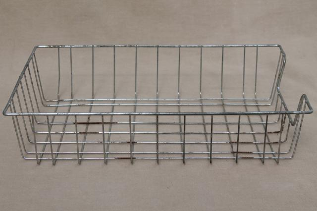 vintage industrial wire basket paper trays, business office desk in/out baskets