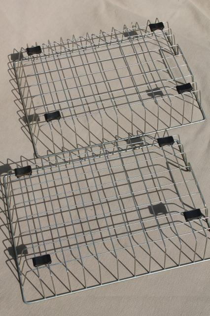 vintage industrial wire basket paper trays, stacking in/out baskets