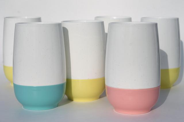 vintage insulated plastic tumblers, set Vacron thermoware drinking glasses in retro pastels