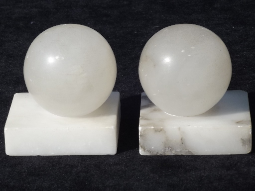 Vintage Italian Alabaster Marble Bookends Carved Stone