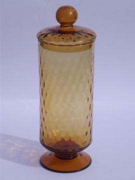 Vintage Italian art glass, large amber glass apothecary bottle / canister jar