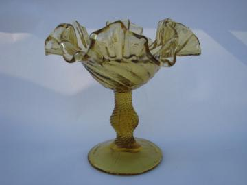 Vintage Italian hand-blown glass ruffled candy dish, amber honey color