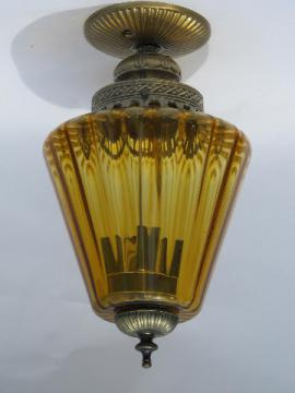Vintage Italian lantern ceiling light with amber glass globe