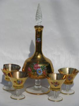 Vintage Italy art glass decanter bottle & glasses, metallic gold / floral