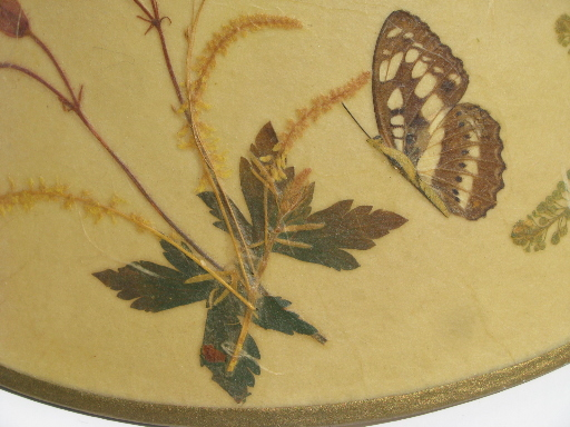 Vintage Ivory Parchment Lamp Shade W Pressed Flowers And