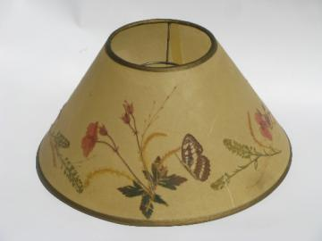Vintage ivory parchment lamp shade w/ pressed flowers and butterflies