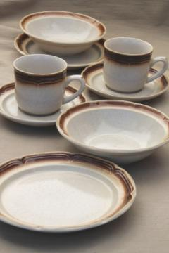 Vintage Japan Cumberland stoneware brown airbrush coffee cups, cereal bowls, plates