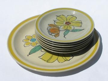 Vintage Japan daisy Sonata stoneware pottery plates, round platter