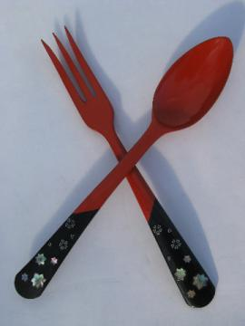Vintage Japan lacquerware, red & black salad servers, spoon & fork w/ abalone shell