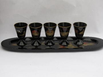 Vintage Japan lacquerware sake set, tiny lacquer goblets & tray
