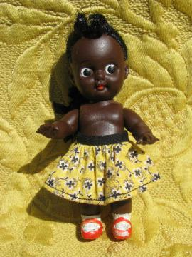 Vintage Japan little black carnival baby doll, small girl w/ red shoes