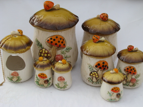 Vintage Japan Retro 70s Mushrooms Kitchen Canisters Planter S P