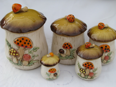 Vintage Japan, retro 70s mushrooms kitchen canisters, planter, S&P