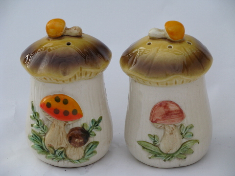 Vintage Japan Retro 70s Mushrooms Kitchen Canisters