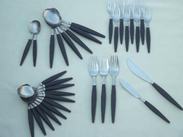 Vintage Japan stainless flatware w/ mod black handles, MCM silverware lot