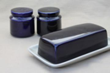 Vintage Japan stoneware pottery, cobalt  blue / tan butter dish and S&P shakers