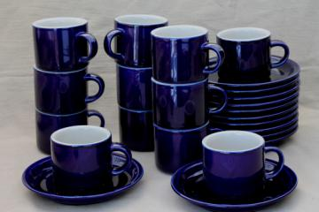Vintage Japan stoneware pottery, cobalt blue / tan cups and saucers set of 12