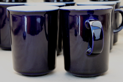 Japan stoneware pottery cobalt blue tan tea or coffee mugs set
