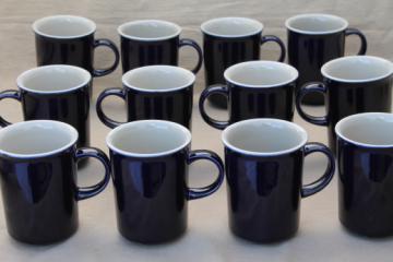 Vintage Japan stoneware pottery, cobalt blue / tan tea or coffee mugs set of 12