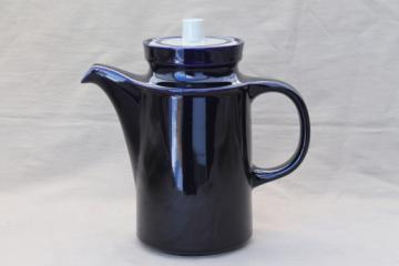 Vintage Japan stoneware pottery coffee pot,cobalt blue / tan tall coffeepot