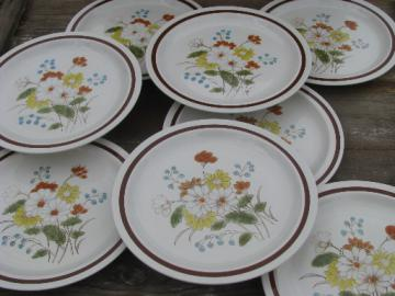 Vintage Japan stoneware pottery plates, Early Summer retro flowers